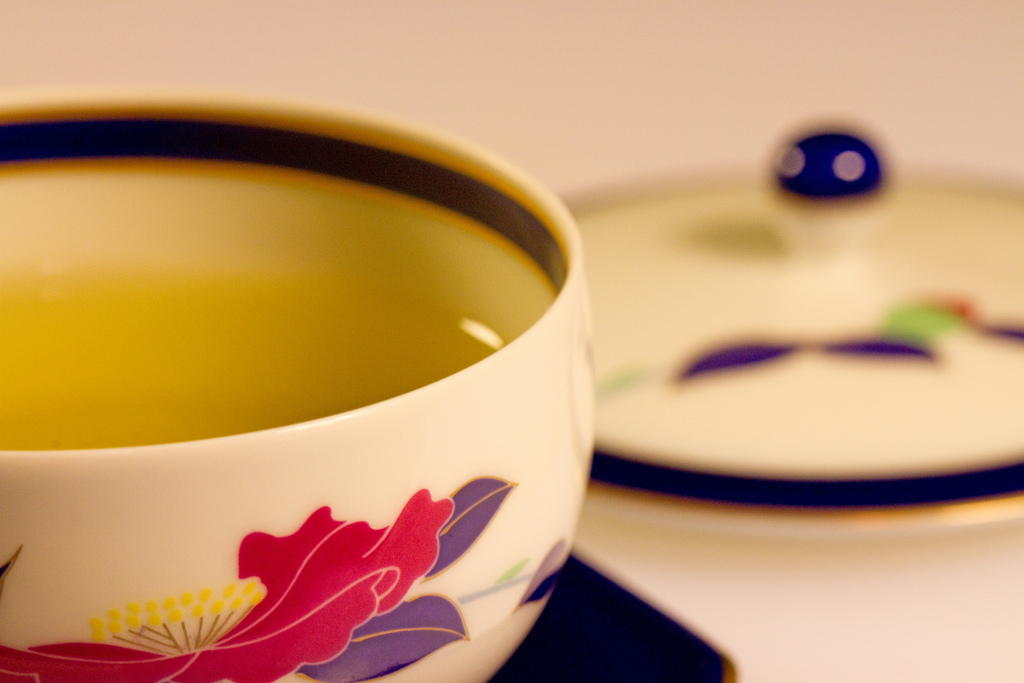 Green Tea in floral cup