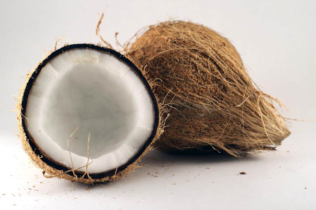 Coconut split in half