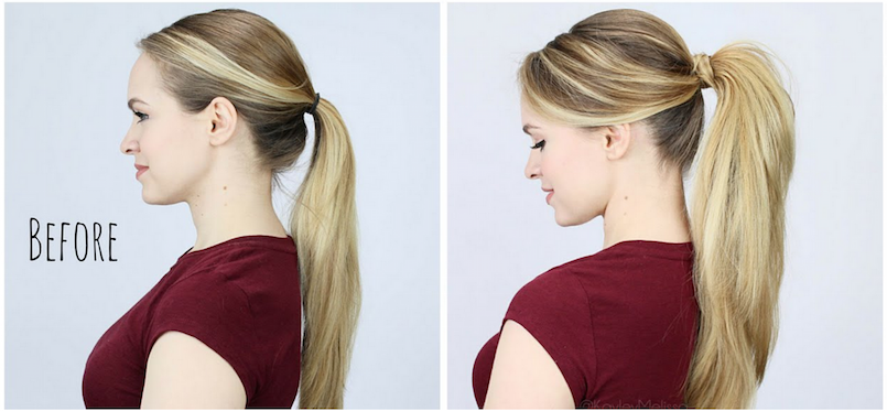 before and after ponytail