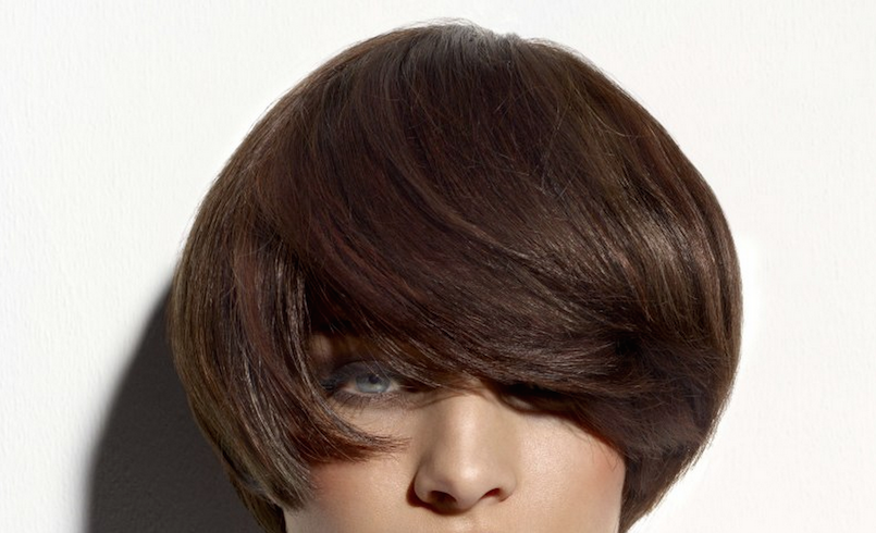 modern bowl haircut chocolate brown hair