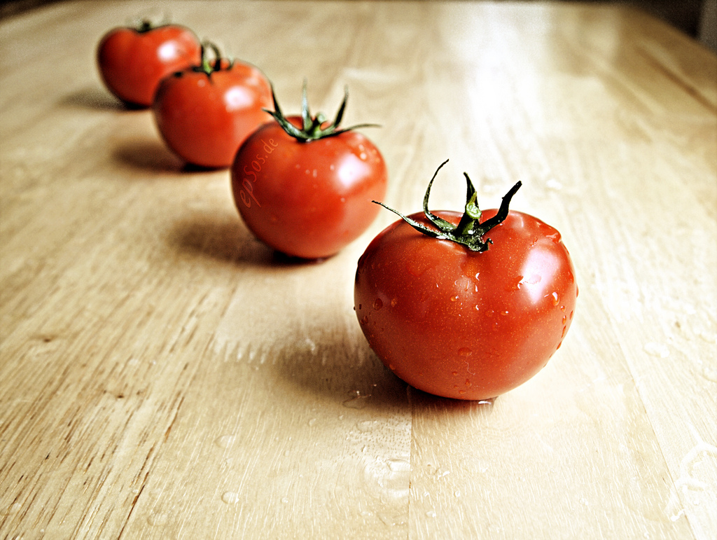 Healthy Red Tomatoes are Wet and Organic