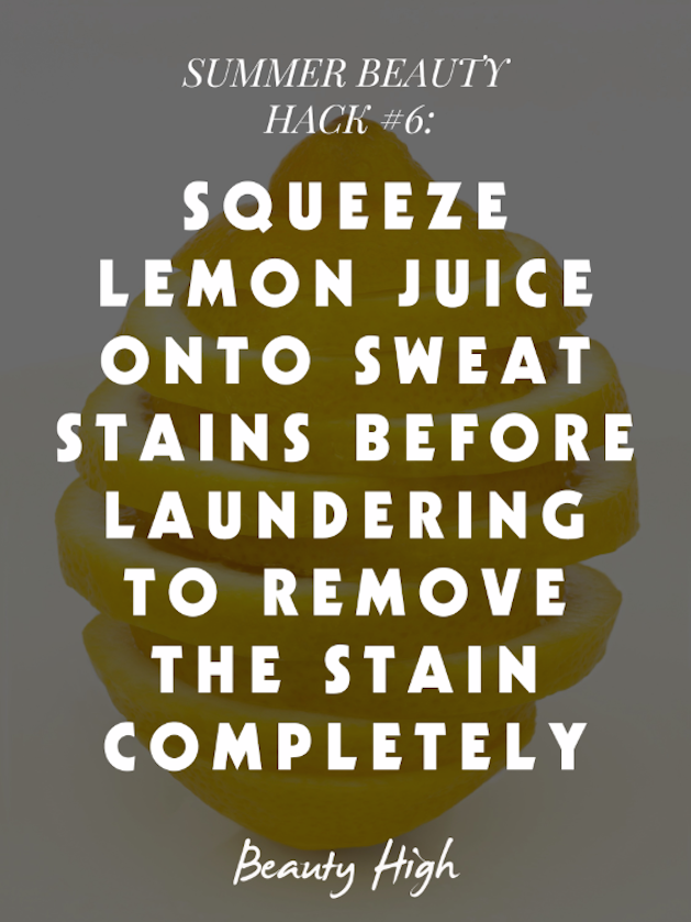 lemon juice sweat stain