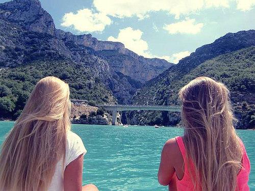girls by the ocean in summer