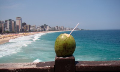 coconut water on the ocean pier