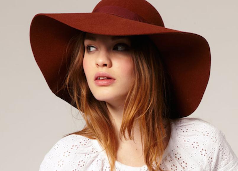 maroon felt floppy hat