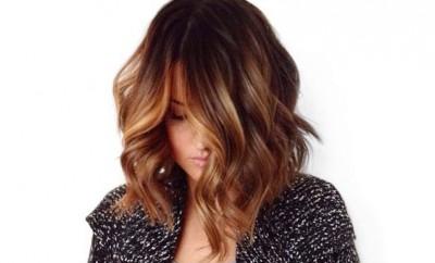 brunette hair balayage lob