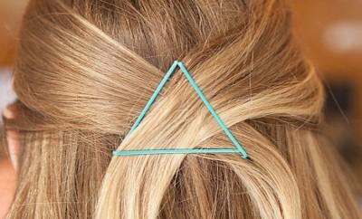 triangle blue bobby pins blonde hair