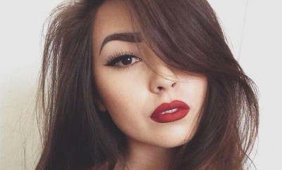 red lipstick on brunette woman