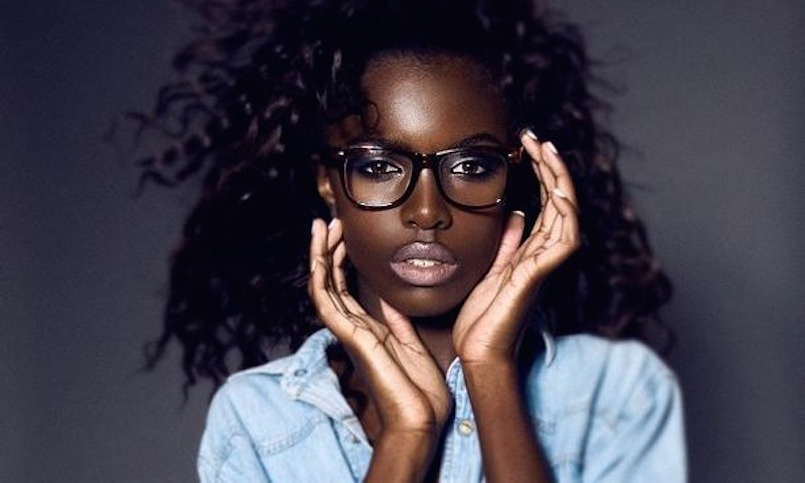 beautiful woman in hipster glasses