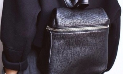 black leather backpack purse