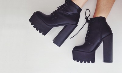 cleated black platform heel boots