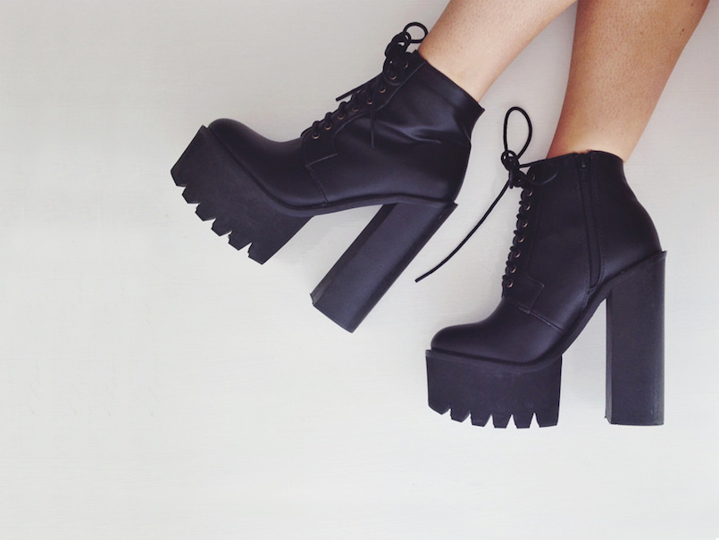 cleated black platform heel boots
