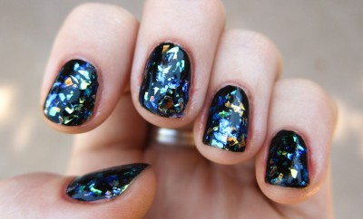 black colorful shattered glass nails