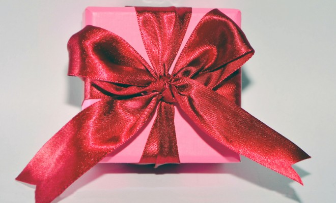 Red Ribbon Pink Present Box