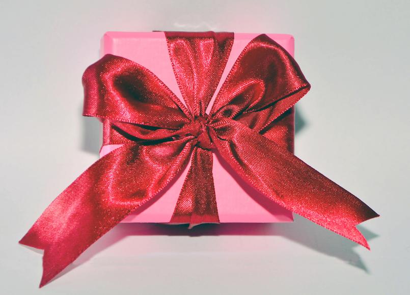 Red Ribbon Pink Present Box