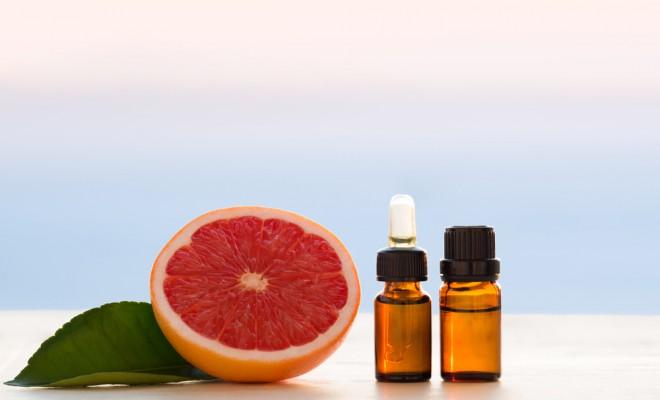Grapefruit essential oils in bottles