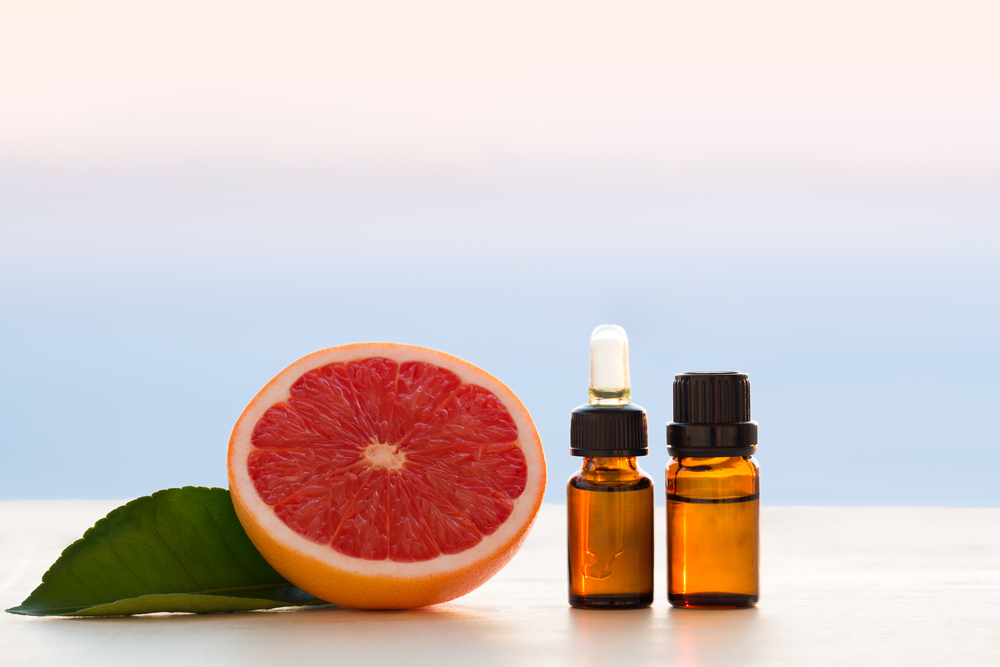 Grapefruit essential oils in bottles
