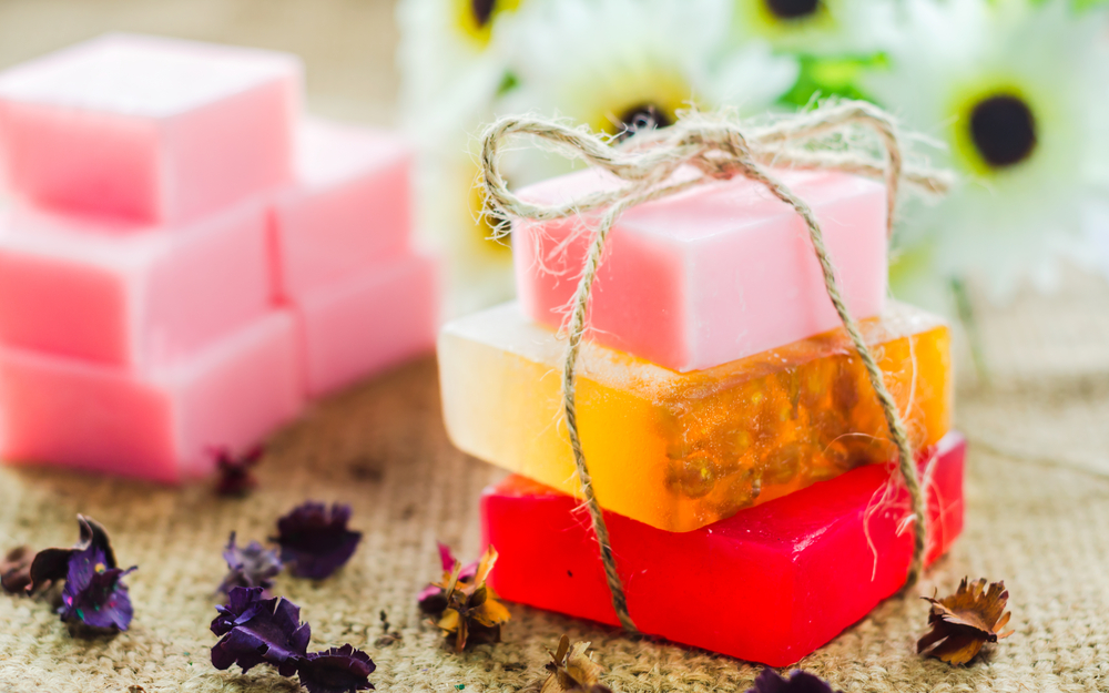 Spa setting with natural soaps and flower. for aromatherapy