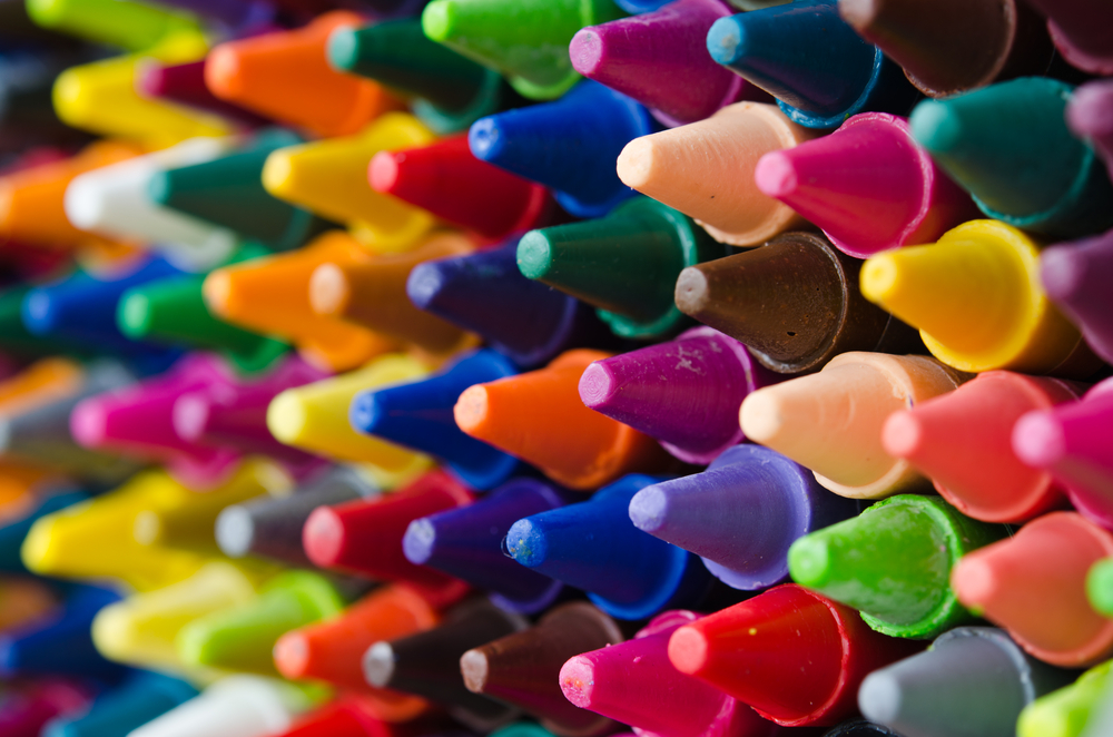 close up set of crayons and mix color