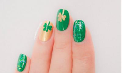 four leaf clover nail art design