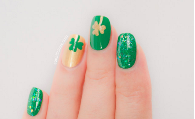 St patricks day nail art ideas dailybeautyhack four leaf clover nail art design prinsesfo Gallery