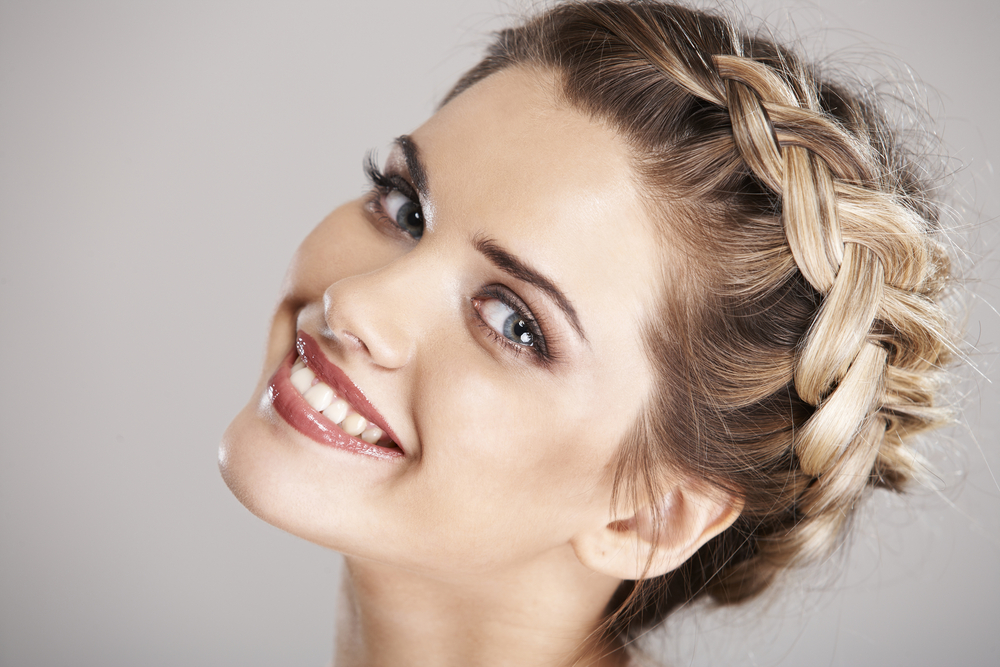 Woman hair style portrait . isolated. close up smiling face