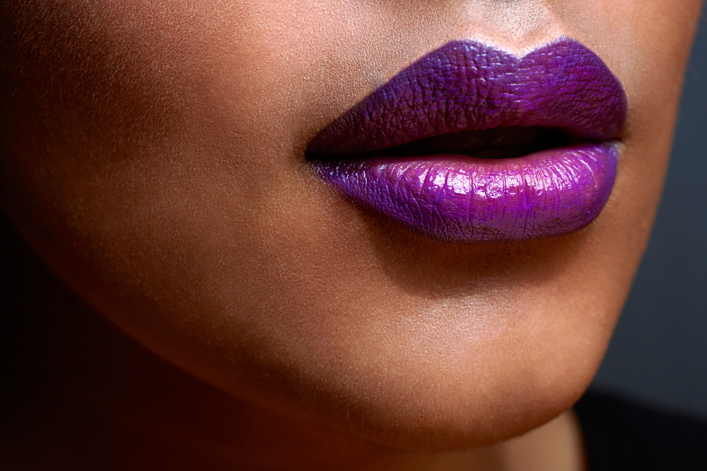 sexy lips with purple ombre style lipstick on tanned skin