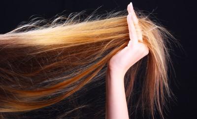 Hand holding hair