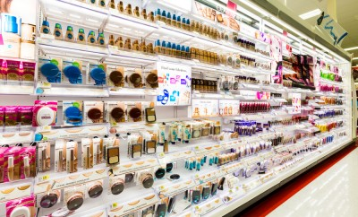 Shelves with cosmetics in a Target store. Target is the second-largest discount retailer in the United States