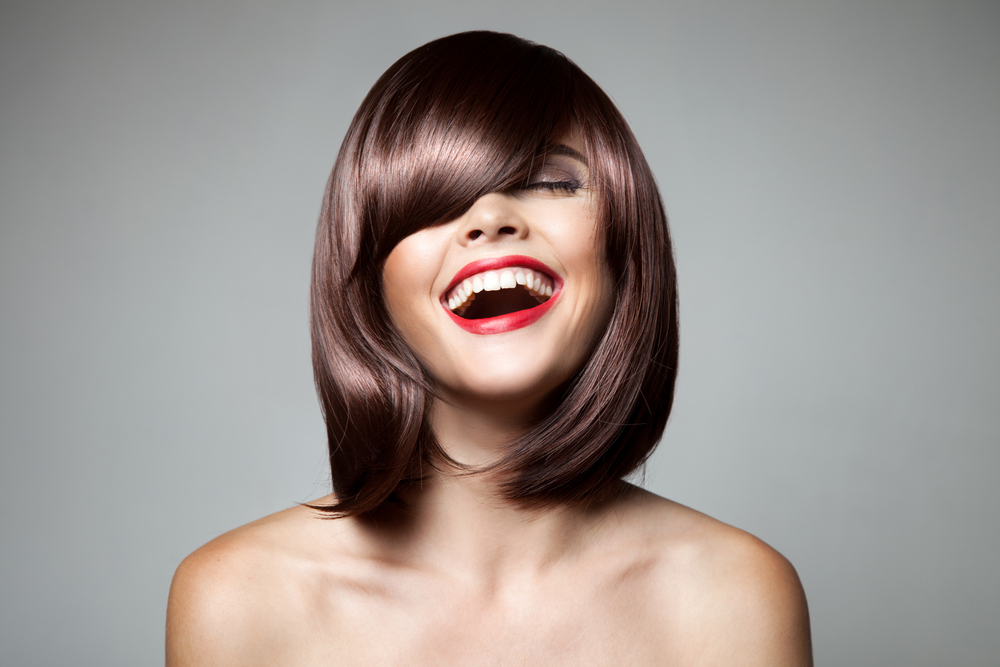 Smiling Beautiful Woman With Brown Short Hair. Haircut. Hairstyle. Fringe. Professional Makeup