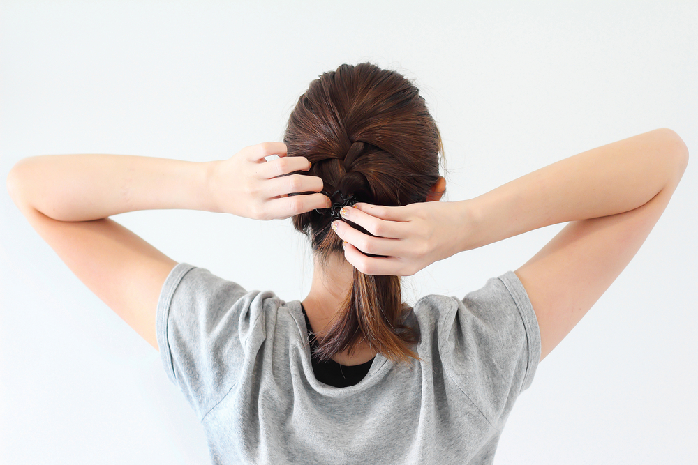woman tied her hair