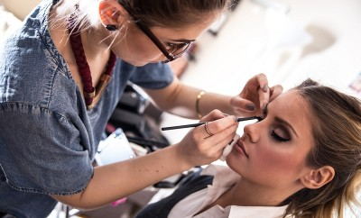 Make-up artist work in her studio.