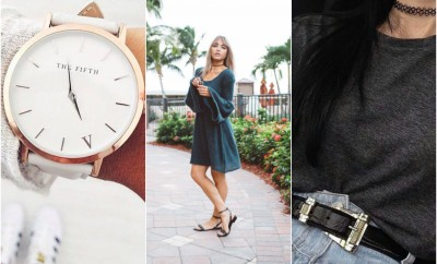 collage of white watch woman in long sleeve green dress and black tee choker and belt