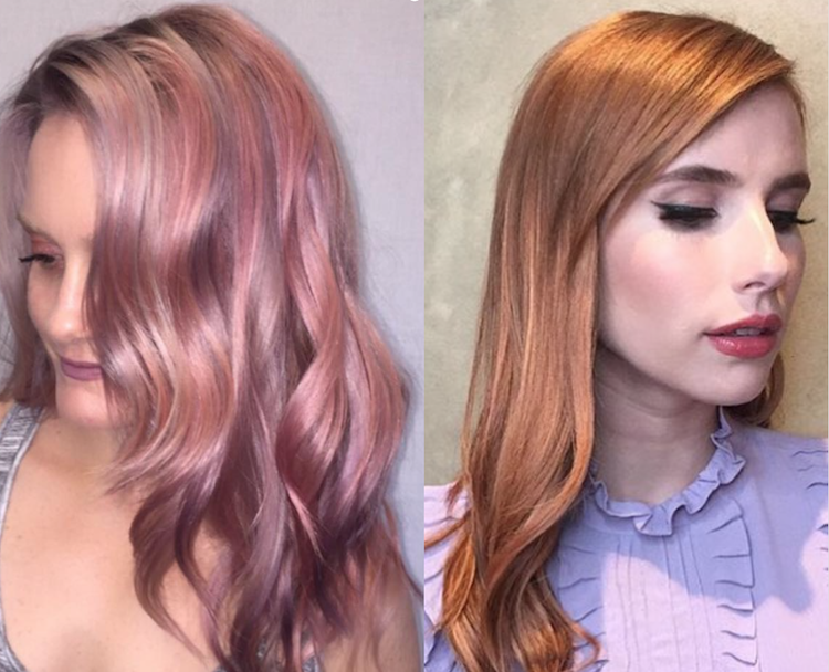 These rose gold hair colors are on point for fall