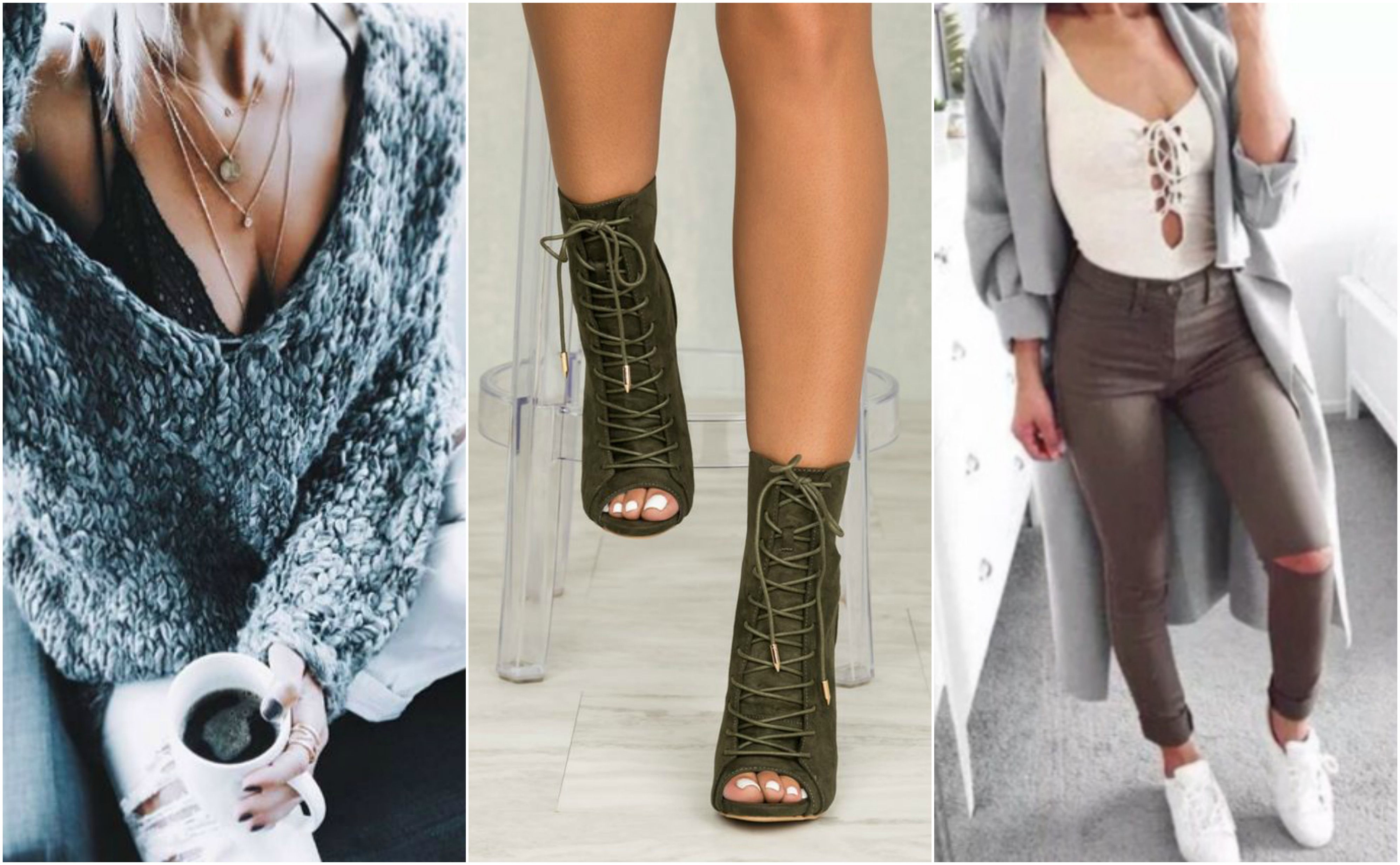 chunky sweater coffee lace ankle boots long coat weekend wardrobe