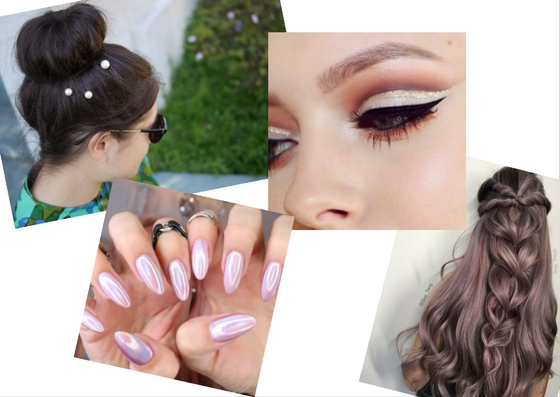 diy hairpin pearls holographic nail polish glitter crease eye makeup voluminous braid hairstyle