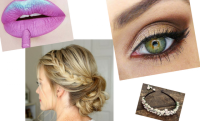 metallic lip smoky eye loose braid bun floral diy headband