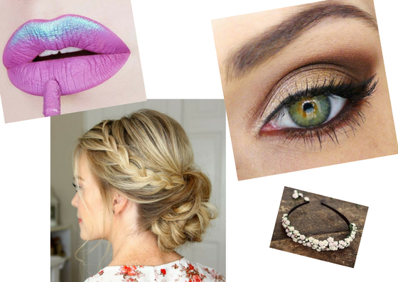 metallic lip smoky eye loose braid bun floral diy headband