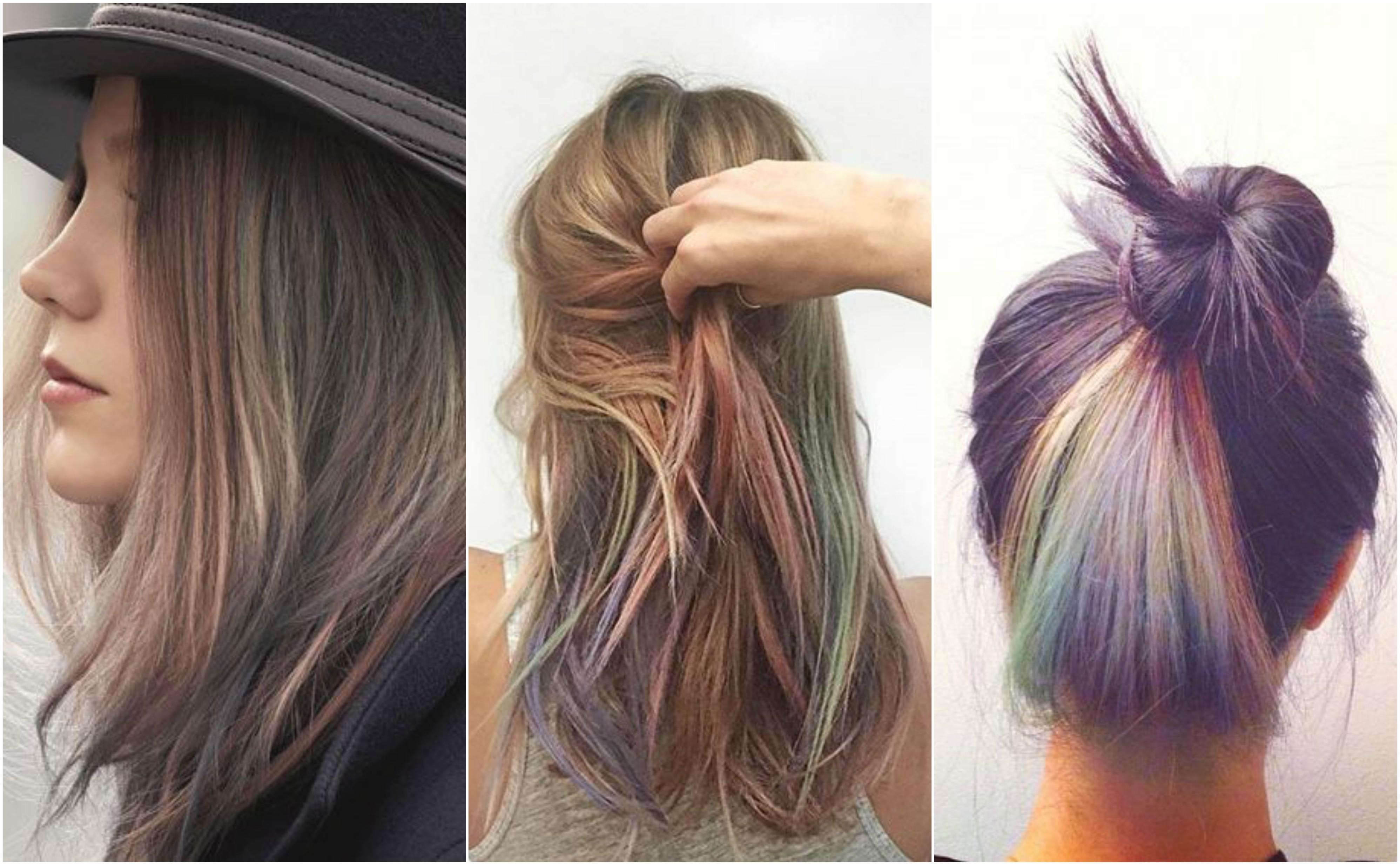 subtle rainbow highlights hair color