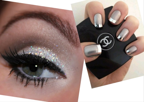 weekend looks silver makeup metallic nails