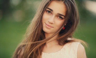 young beautiful girl with long hair portrait