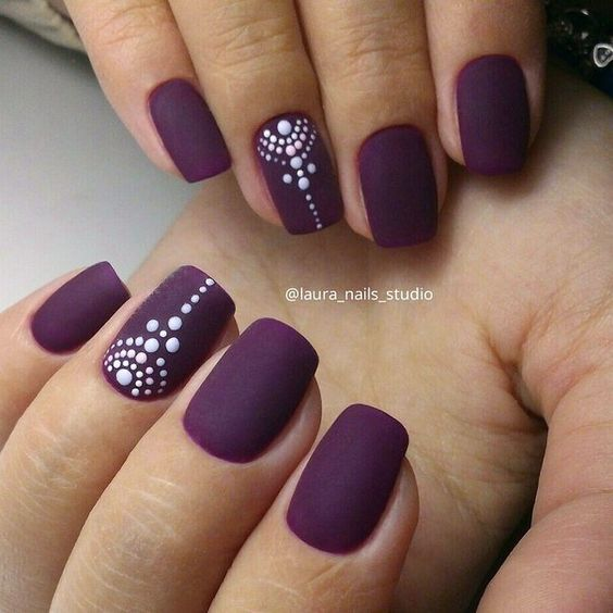 matte nails with dots