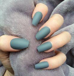 grey-blue matte nails