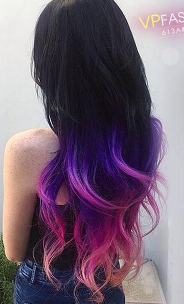 sunset ombre rainbow hair