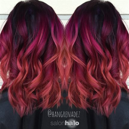 berry sunset ombre hair