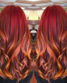 red and gold sunset hair