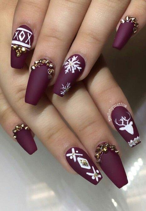 matte nails with seasonal themes