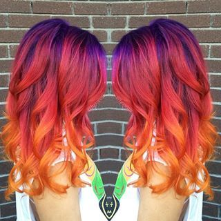 rainbow sunset hair