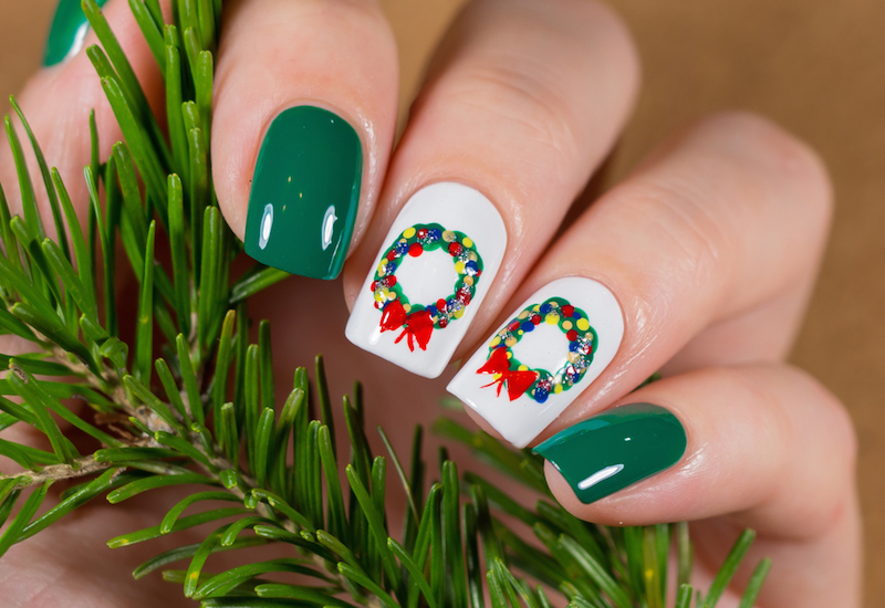 christmas nail art manicure winter holiday style bright manicure design christmas decorations and snowflakes