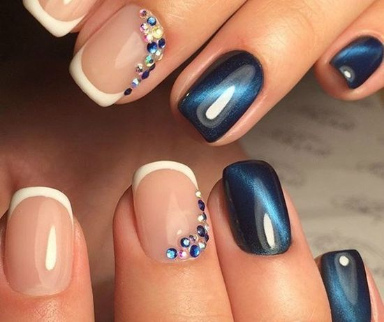 negative space nails with rhinestones